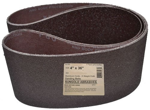 Sungold Abrasives 35072 4-Inch by 36-Inch 320 Grit Sanding Belts Premium Industrial X-Weight Silicon Carbide, 3-Pack