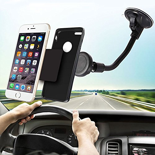 Eagwell Universal 360 Rotating Flexible Car Suction Cup Holder Magnetic Car Mount Cell Phone Holder Stand - BLACK (Lg G2 Windshield Mount compare prices)