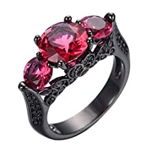 buy Jw Collection Black Gold Filled Rose Red Zircon Stone Engagement Bridal Promise Wedding Rings