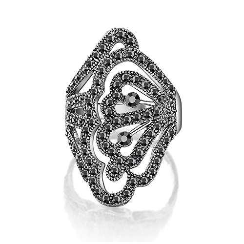 dnswez vintage white gold plated black crystal marcasite