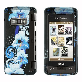 Blue Hawaiian Flower Design Black Snap on Hard Cover Protector Faceplate Skin Case for Verizon LG Env Touch VX11000 VX-11000