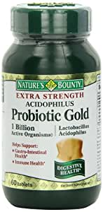 Natures Bounty acidophilus extra strength probiotic gold Tablets 60