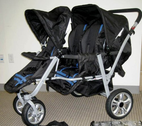 Blue and Black Triple Trio Tandem Baby Jogger Stroller with Rain Canopy - Free Matching Carry Bag
