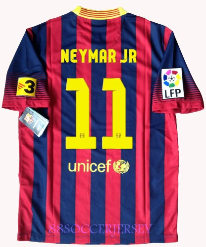 NEW 2013-14 NEYMAR JR #11 BARCELONA HOME LFP SOCCER JERSEY FOOTBALL SHIRT (US SMALL)