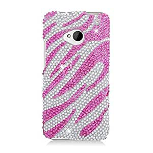 Eagle Cell PDHTCM7S329 RingBling Brilliant Diamond Case for HTC One/M7 - Retail Packaging - Hot Pink Zebra