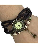 Montre en cuir Weave Wrap Around montre-bracelet de rétro bracelet de Madame Woman par Boolavard ® TM (tour eiffel)