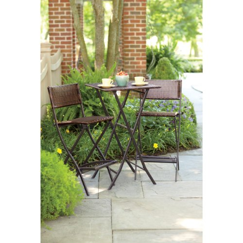 piece high dining bar height folding wicker bistro set by ace mfg