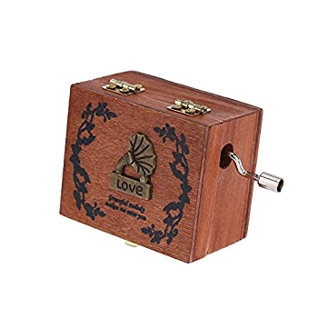 Exquisite Hand Crank Musical Box Retro Vintage Wooden Music Box 4 Different Patterns for Option Beautiful Decorative Patterns