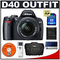 Nikon D40 6.1MP Digital SLR Camera + Nikon 18-55mm AF-S Lens + Nikon SLR Gadget Bag + Transcend 4GB SDHC SecureDigital Card + USB Card Reader