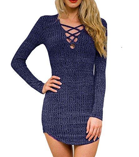 Dreagal Women's Plunge Neck Lattice Lace Up Bodycon Mini Dress Blue Small