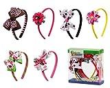 Bundle Monster 6pc Cute Handmade Grosgrain Ribbon Bows Toddler Girl Hair Headbands, Set A Assorted Mix Lot Set