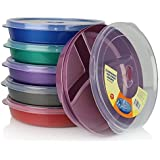 (Set of 6) Microwave Food Storage Tray Containers - 3 Section / Compartment Divided Plates w/ Vented Lid