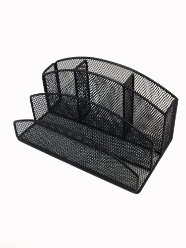 Buddy Products 5-Compartment Mesh Desk Organizer, 4.9 X 4.5 X 8.7 Inches, Black (Zd020-4)