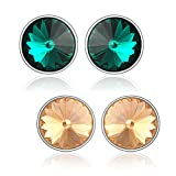 Mahi Green & Brown Made with Swarovski Elements stud Earring for Women CO1104130RBroGre