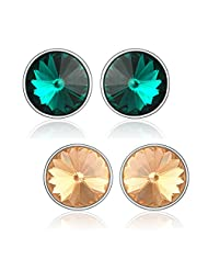 Green & Brown Earrings Studs Made With Swarovski Elements By Mahi CO1104130RBroGre