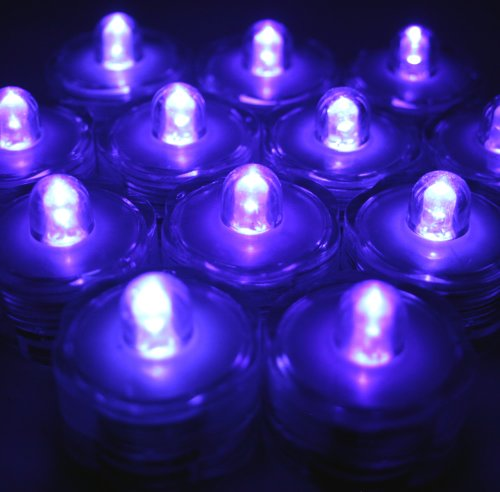 Submersible Led Battery Operated Tea Light (Pack Of 10) Purple-Wedding, Floral Arrangement, Ice Bucket, Party Decor-Bluedot Trading