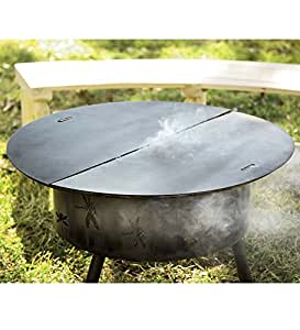 Amazon Com Round Steel Fire Pit Cover 34 Quot Dia Patio