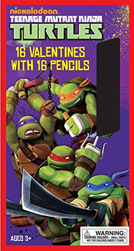 Paper Magic 16CT Pencils Teenage Mutant Ninja Turtles Kids Classroom Valentine Exchange Cards - 1