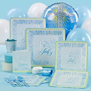 Faithful Dove Blue Baptism Standard Party Pack for 16