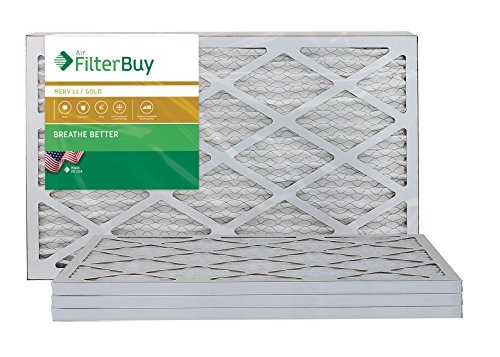 AFB Gold MERV 11 14x24x1 Pleated AC Furnace Air Filter. Pack of 4 Filters. 100% produced in the USA.