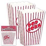 24x Popcorn Tüte rot-weiß gestreift - Popcorn Box für Kinoabend