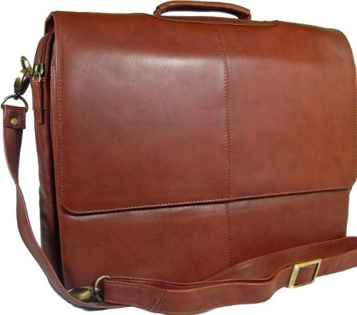 New Visconti unisex chestnut brown soft leather flap over briefcase messenger bag style 658