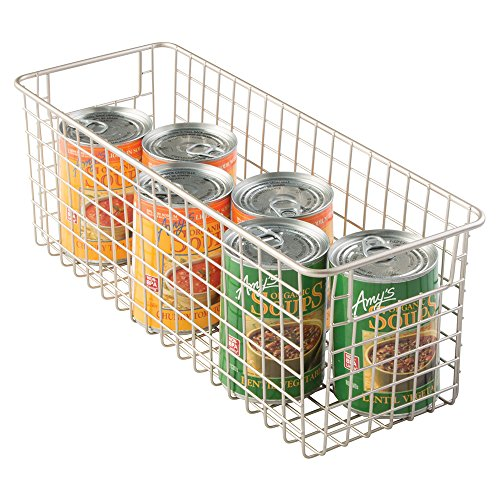 mDesign Wire Storage Basket for Kitchen, Pantry, Cabinets - Medium, Deep, Satin (Wire Basket compare prices)