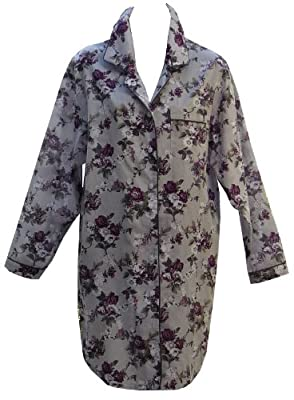 RocketWear Grey/Purple Floral Long Sleeve Cotton Woven Button Front Nightshirt