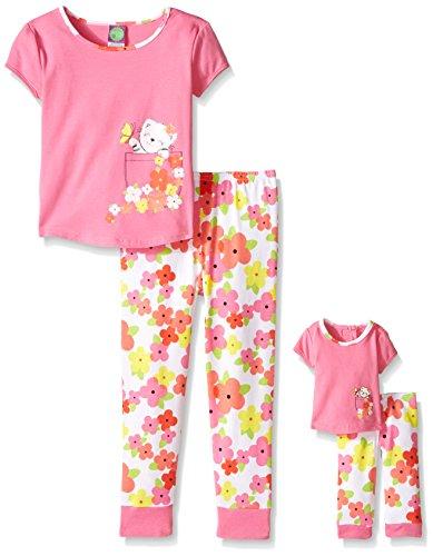 Dollie & Me Big Girls Floral Snug Fit Sleep Set, Fuchsia/Multi, 7