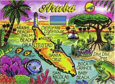 """Aruba Map Caribbean Fridge Collector'S Souvenir Magnet 2.5"""" X 3.5"""""""