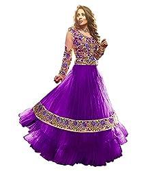 Fabian Fashion Purple Net Semi-Stiched Dress