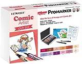 Letraset ProMarker Gift Set (12 colours + Storage tin + Bleedproof Marker Pad + Blender + Fine Line Drawing Pen) - Comic Artist