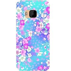 Casotec Floral Blue Pattern Design Hard Back Case Cover for HTC One M9