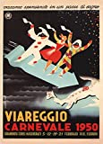 Vintage Travel ITALY for VIAREGGIO CARNIVAL c1950 by Uberto bonetti 250gsm Gloss Art Card A3 Reproduction Poster