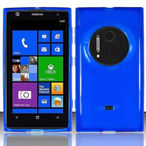 Lf Blue Tpu Gel Case Cover, Lf Stylus Pen And Wiper For At&T Nokia Lumia 909 Elvis / Eos
