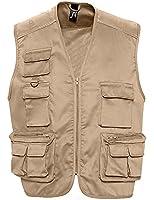 SOL'S - gilet reporter multipoches - veste légère sans manches BODYWARMER - 43630 - taille 3XL - beige - mixte homme femme