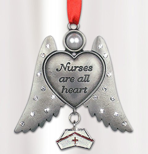 Nurse Hanging Ornament Angel with Hat Charm Pewter Metal 3 Inch
