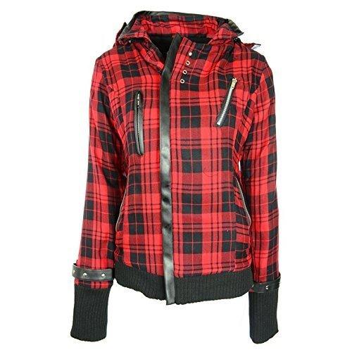 Industries Poizen Emo stile gotico Z giacca da donna rosso con cerniera con motivo scozzese a scacchi