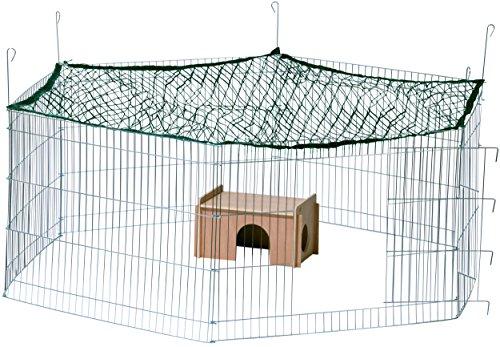 dobar-80605-Groes-Kaninchengehege-aus-6-Elementen-mit-Nylon-Netz-und-Holzhaus-XXL-Freilauf-fr-Hasen-Freilaufgehege-XL-165-x-145-x-60-cm-silber