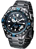 Seiko Superior #SSA1135 Men's Black IP Stainless Steel Limited Edition Compass Bezel Automatic Watch