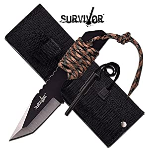 Survivor HK-106320TN Fixed Blade Outdoor Knife, Black Tanto Blade, Two-Tone Tan Cord-Wrapped Handle, 7-Inch Overall