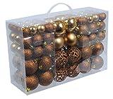 100 Weihnachtskugeln Bronze Braun glänzend glitzernd matt Christbaumschmuck bis Ø 6 cm Baumschmuck Weihnachten Deko Anhänger