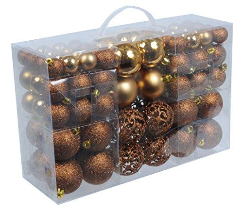 100-Weihnachtskugeln-Bronze-Braun-glnzend-glitzernd-matt-Christbaumschmuck-bis--6-cm-Baumschmuck-Weihnachten-Deko-Anhnger