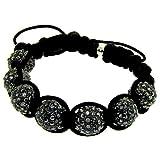 Luxury Shamballa Disco Ball Macrame Buddhist Bracelet Black/Gunmetal Iced Out Swarvoski Bling Reviews Picture