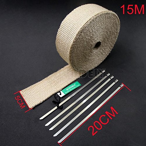 SUNDELY® Cream Color Glassfiber Exhaust Pipe Header Heat Wrap Resistant Downpipe Tape Roll 2in X 49ft (5cm X 15m) + 5 Metal Ties 1
