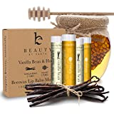 Lip Balm Vanilla Bean & Honey (4 Pack) With Natural And Pure Beeswax Lip Butter With Aloe Vera & Vitamin E Condition...
