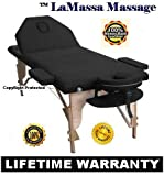TM *LaMassa/BestMassage Salon - Table Portable *Black - Bed Spa Tattoo - (Includes FREE Carry Case, Massage DVD, And Spa Music CD - o#Pro4K