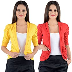 Yellow & Red Cotton Gathering Sleeve Regular Fit Shrugs (Combo Set of 2)