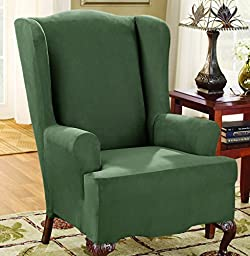 Sure Fit Stretch Suede - Wing Chair Slipcover  - Dark Green (SF36472)