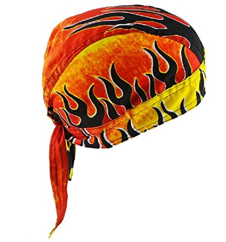 Black Flame Orange SweatBand Head Doo Rag Du Skull Biker Cap